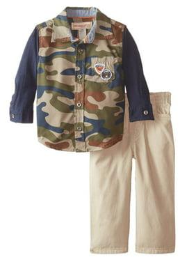 Kids Headquarters Infant Boys 2P Camouflage Shirt & Khaki Pants Set