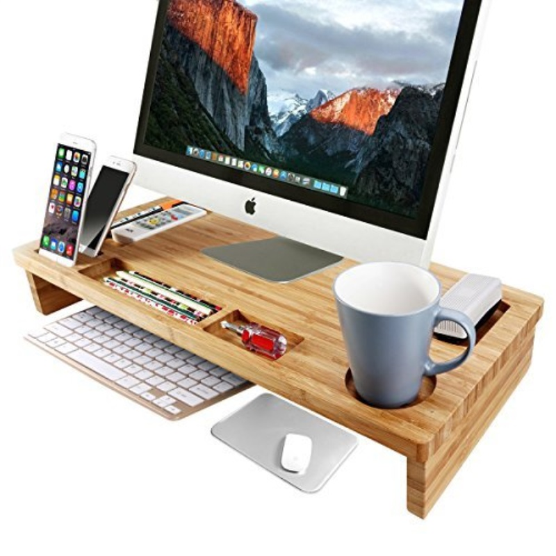OULII Bamboo Monitor Stand Riser 25.6âu20ac³ Width Lap Desk With Storage  Organizer (