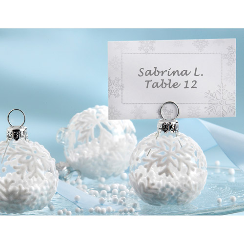 Snow Flurry Flocked Glass Ornament Placecard Holder
