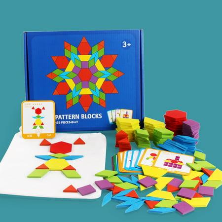 155PCS motif en bois bloc forme géométrique créative puzzle jouet jouet éducatif - image 7 de 10