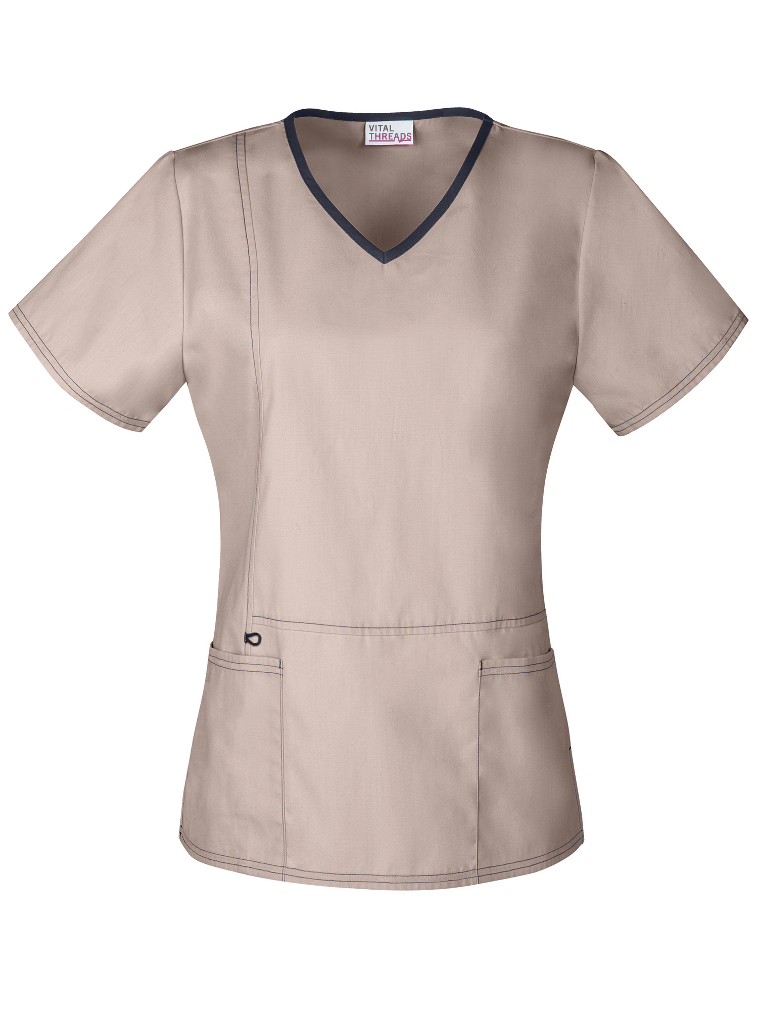 Women's V-Neck Scrub Top with Front Fashion Seam Detail