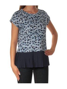 0233b38e1b42a Product Image MICHAEL KORS Womens Blue Floral Short Sleeve Jewel Neck Top  Petites Size  S