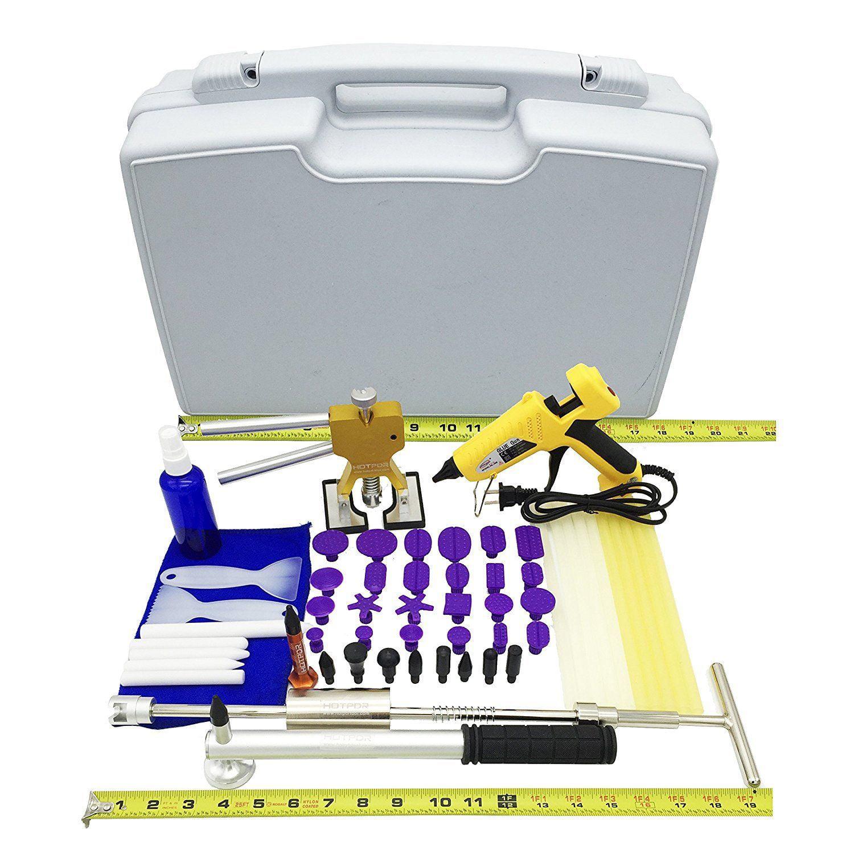PDR Metal Dent Puller + Nozzle Glue Gun Car Paintless Dent Repair Kits(58pcs) by