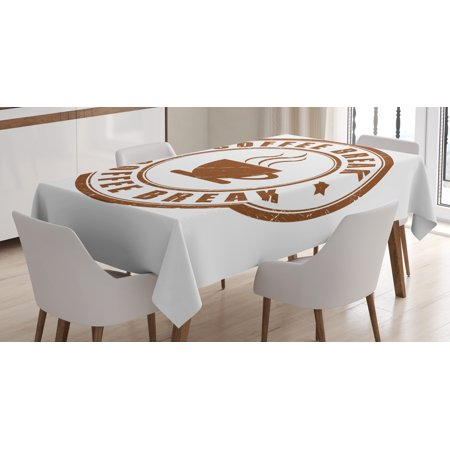 Coffee Tablecloth, Worn Coffee Break Seal Design with Stars Circular Pattern and Glass Silhouette, Rectangular Table Cover for Dining Room Kitchen, 52 X 70 Inches, Caramel White, by Ambesonne