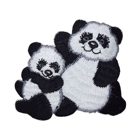 Panda Bear with Cub - Iron On Embroidered Applique Patch