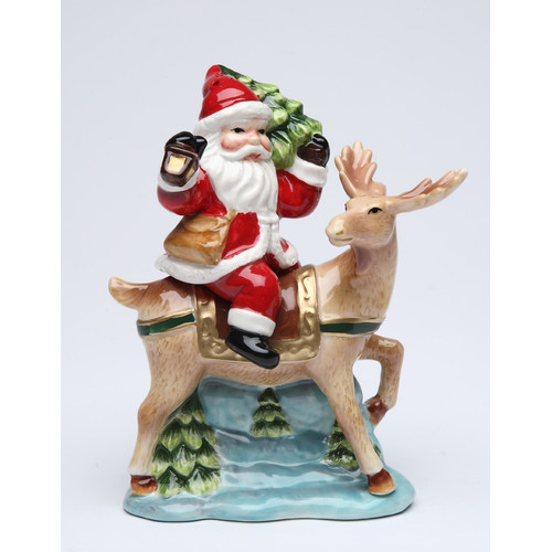 Cosmos Gifts Santa with Reindeer Salt and Pepper Set