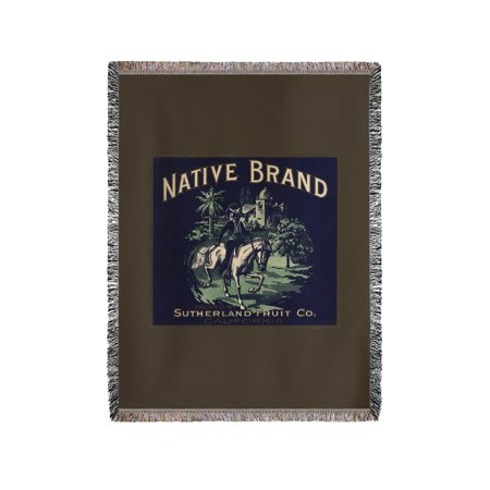 Native Brand   California   Citrus Crate Label  60X80 Woven Chenille Yarn Blanket