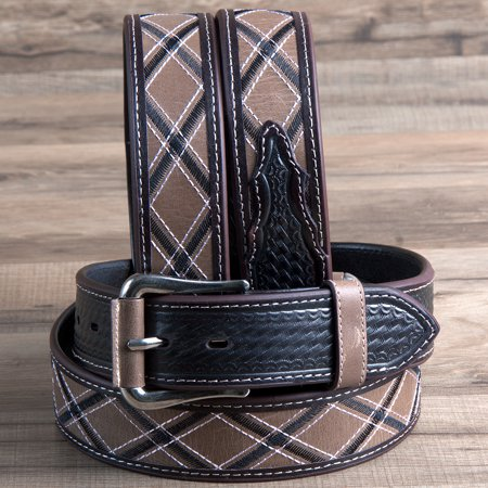 34  3D 1 1 2  Brown Mens Basketweave Western Leather Cowboy Fashion Belt