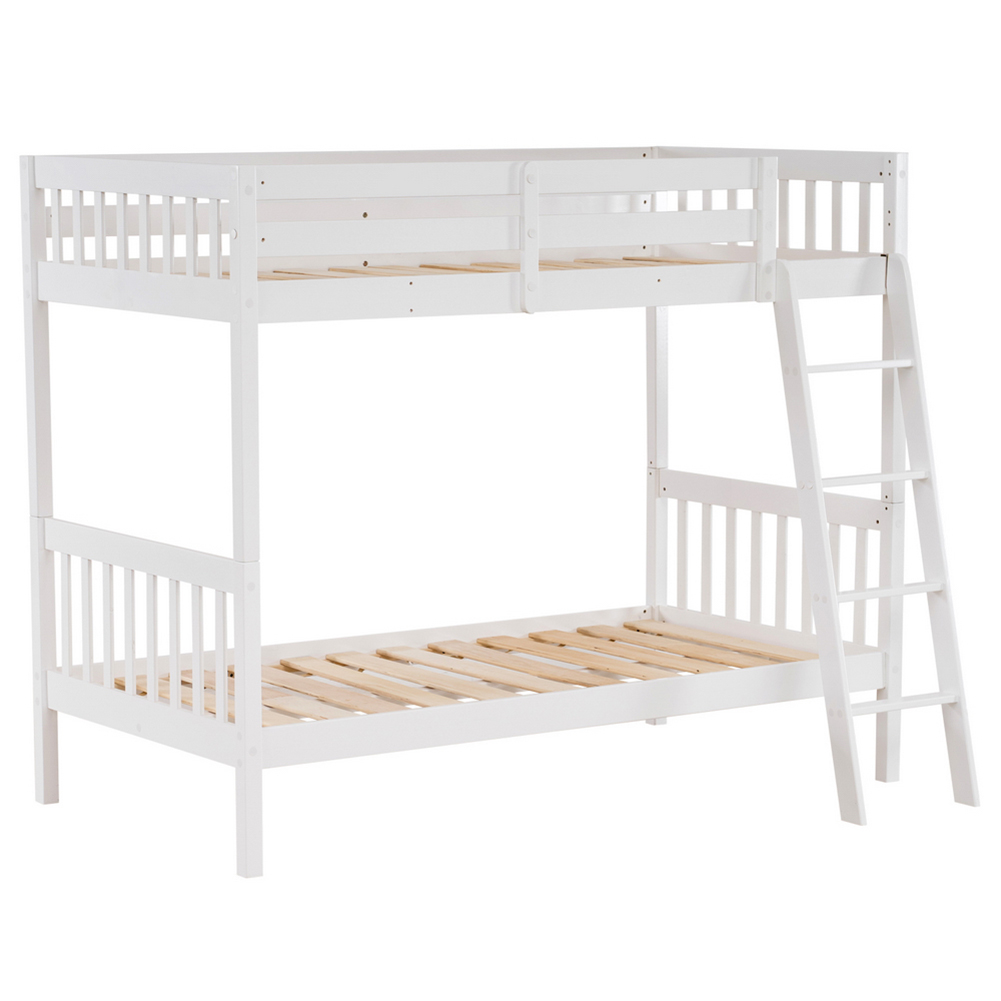 Winnereco Pine High Tall Bunk Bed Vertical Version Straight Headboard 65 H White Walmart Com Walmart Com