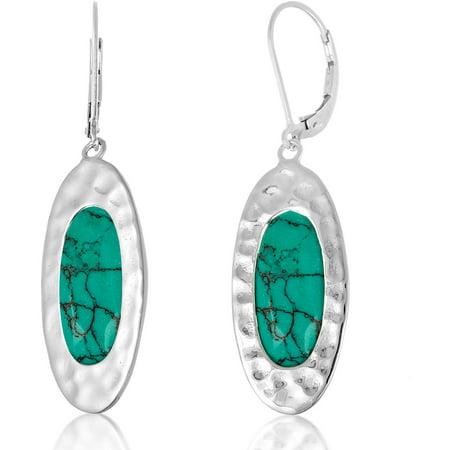 Women S Sterling Silver Rhodium Oval Turquoise Leverback Earrings