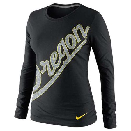 Nike Oregon Ducks Womens Long Sleeve Angled Script T Shirt