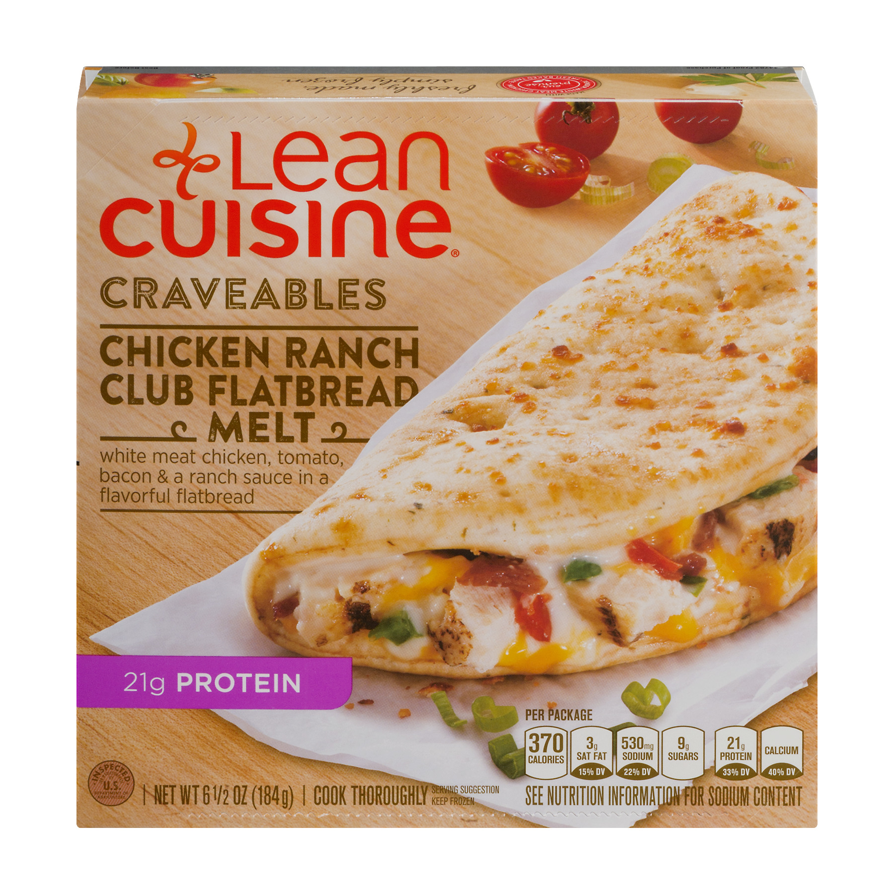 LEAN CUISINE Craveables Chicken Ranch Club Flatbread Melt 6.5 oz Box