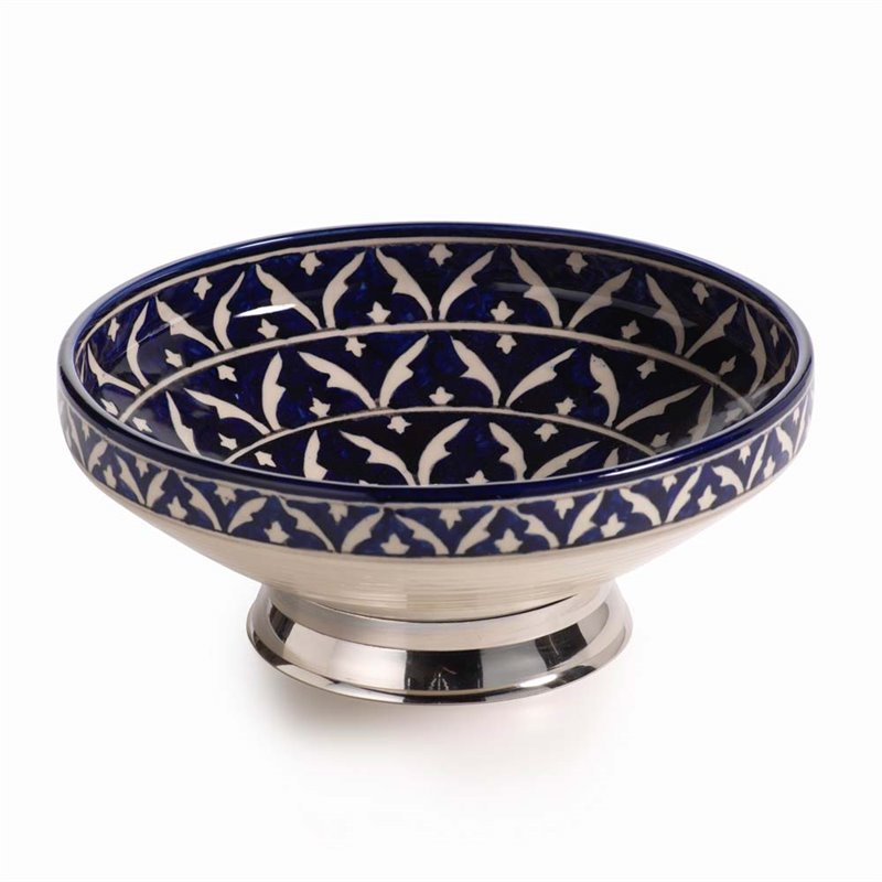 Zodax Mazagan Hand Painted Serving Bowl in Blue