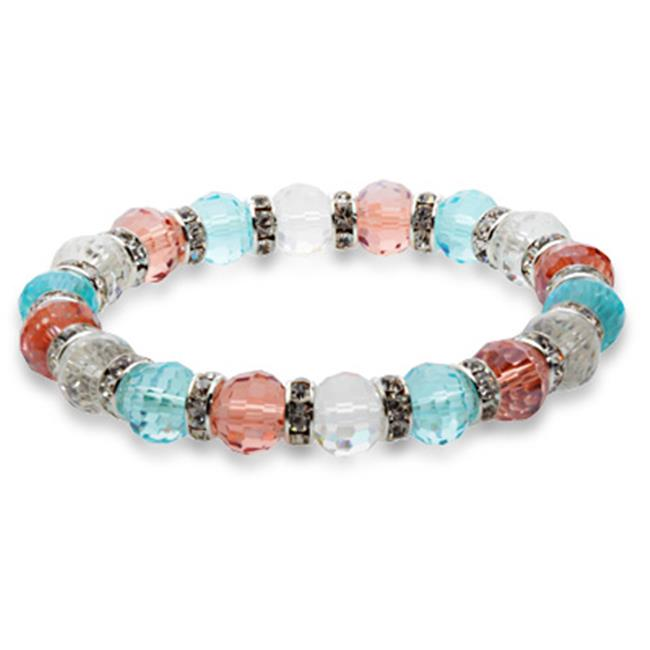 Alexander Kalifano BLUE-BGG-N16 Blue Tag Gorgeous Glass Bracelet - Multi-Colored