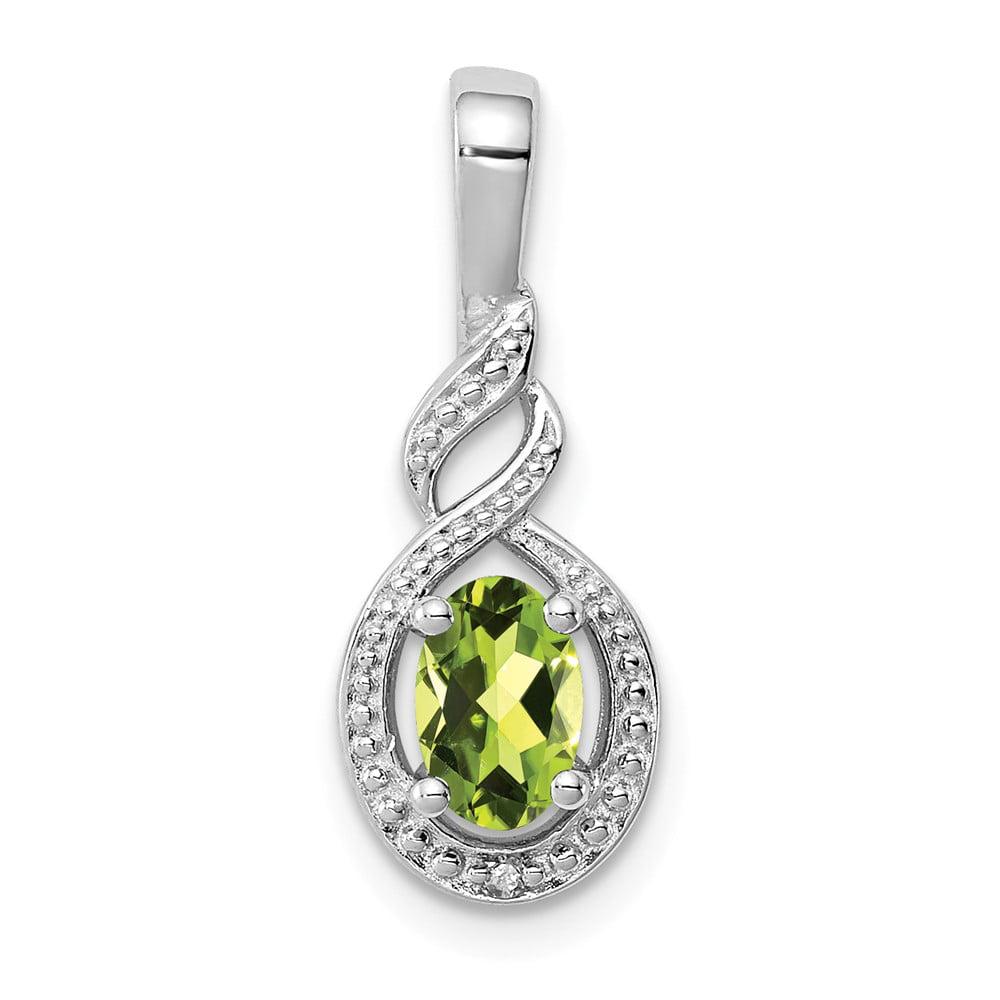 Sterling Silver Peridot & Diamond Pendant. Gem Wt- 0.49ct