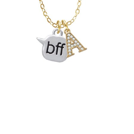 Text Chat   Bff   Best Friends Forever   A   Gold Tone Crystal Initial Sophia Necklace  18  1
