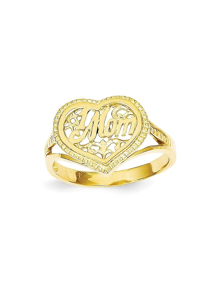 ICE CARATS 14kt Yellow Gold #1 Mom In Heart Band Ring Size 7.00 S love Fine Jewelry Ideal Gifts For Women Gift Set From... by IceCarats Designer Jewelry Gift USA