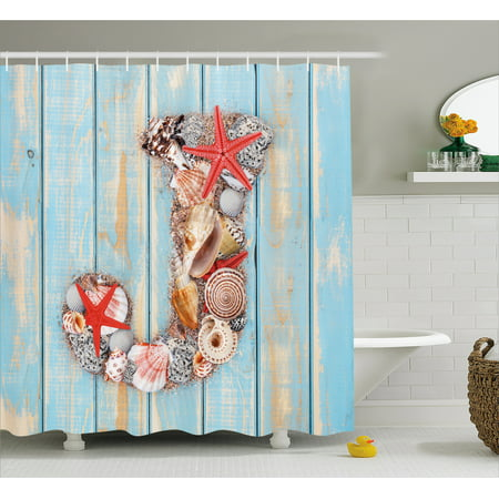 Letter J Shower Curtain Summer Holiday On Tropical Beach Theme Rustic Old Wood Planks Fabric Bathroom Set With Hooks Pale Blue Ivory Dark Coral