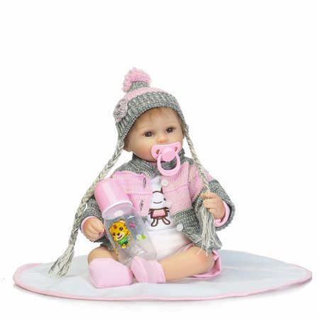 Reborn Baby Doll Soft Silicone vinyl 18inch 45cm Lovely Lifelike Cute Baby Birthday gift Christmas gift