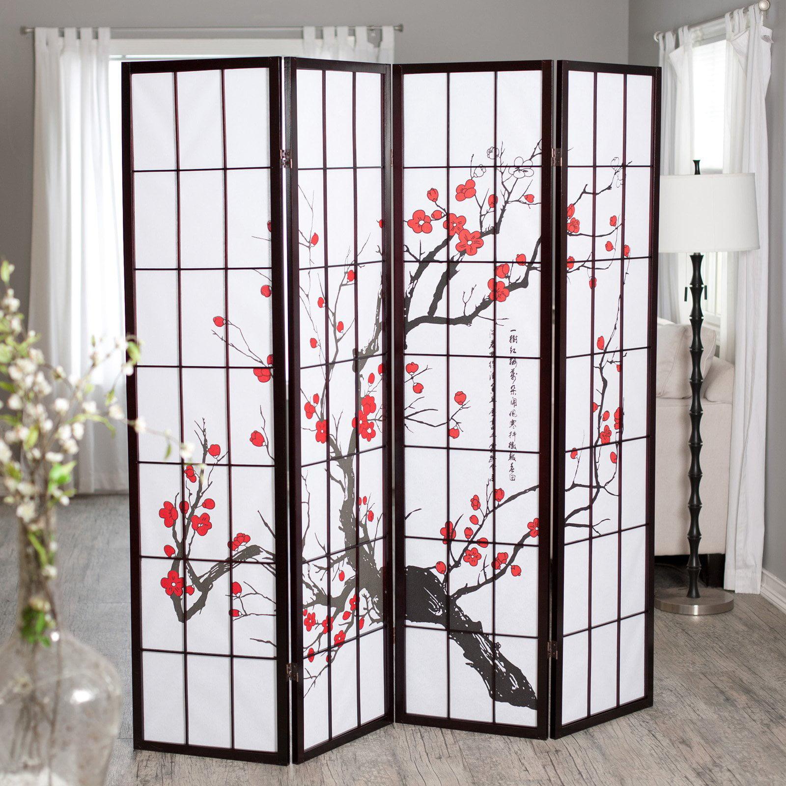 Divider Furniture cherry blossom rosewood 4 panel room divider - walmart