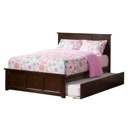 Madison Platform Bed with Matching Foot Board with Twin Size Urban Trundle Bed in Multiple Colors and Sizes ()
