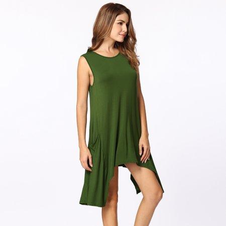 Women Summer Sleeveless Pockets Tunic Tank Tops Asymmetrical Hem Flowy Swing T Shirt Dress Casual Top - image 3 of 5
