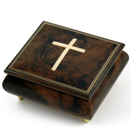 Gorgeous Handcrafted Natural Wood Tone Musical Jewelry Box with Holy Cross Inlay - Have Yourself A Merry Little Xmas
