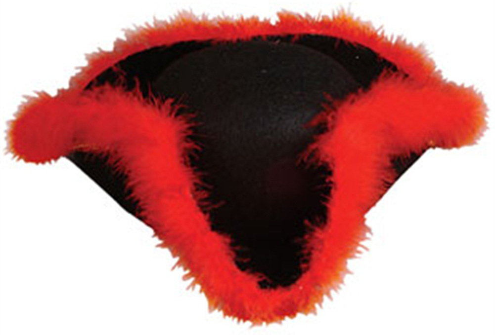 Adult Costume Black Pirate Hat with Red Fur Trim by Rhode Island Novelty