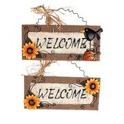 Attraction Design Home 2 Piece Wood/Linen Sunflower Welcome Sign Wall D cor Set