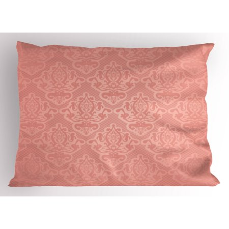 Peach Pillow Sham Lace Style Background with Antique Wedding Inspiration Motifs Ornamental Vintage Design, Decorative Standard Size Printed Pillowcase, 26 X 20 Inches, Coral, by Ambesonne