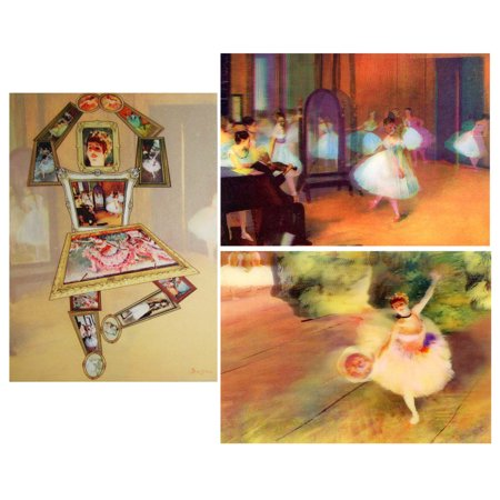 3 Edgar Degas Lenticular 3D Postcards - Dance Class & Ballerina with Bouquet and Ballerina made up of his Art - Dance Postcard