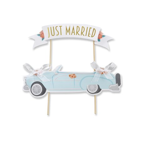 Just Married Vintage Car Cake Topper - Just Married Car Decorating Kit