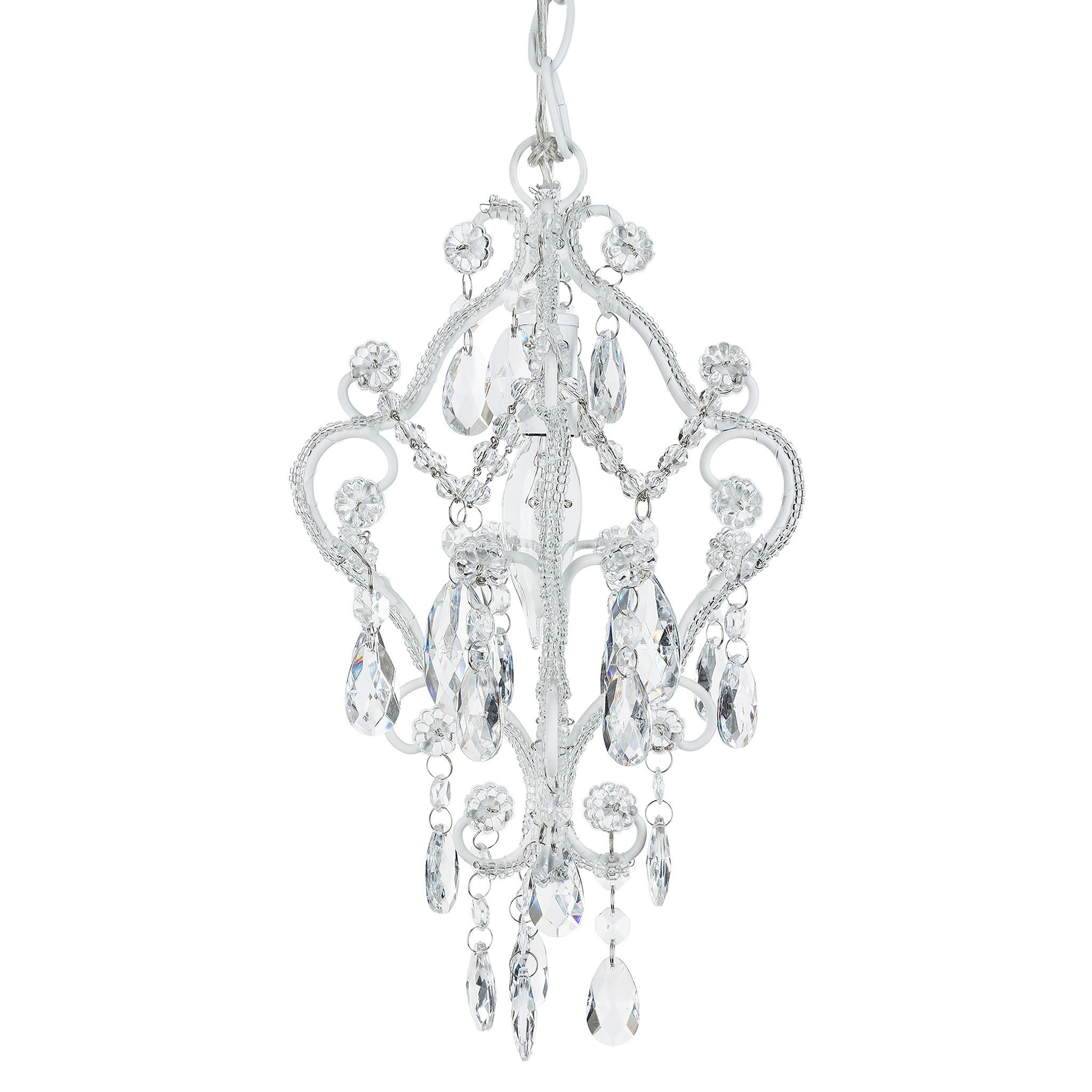 Amalfi Decor 1 Light Mini Crystal-Beaded Nursery Chandelier (Pink) | Wrought Iron Frame with Glass Crystals by