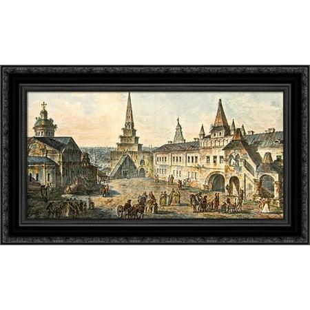 Kremlin Tower (Church of St. John the Baptist, Borovitskaya tower and Stablings prikaz (department) in the Kremlin 24x17 Black Ornate Wood Framed Canvas Art by Alekseyev, Fyodor )