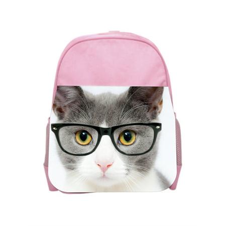 Kitten in Glasses - Girls Pink Preschool Toddler Children's Backpack & Lunch Box Set