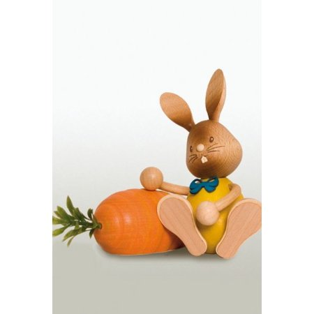 Easter Bunny Rabbit with Large Carrot German Wooden Figurine ()