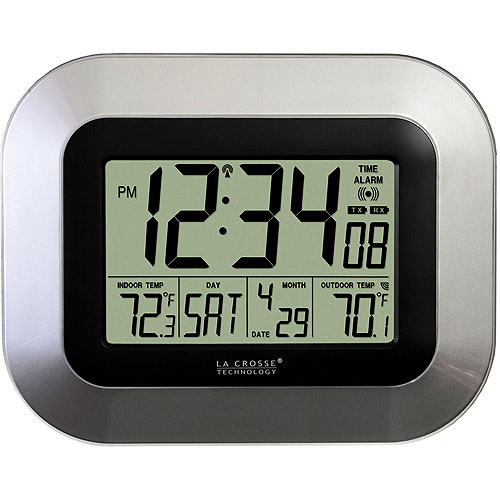 La Crosse Technology Digital Atomic Wall Clock with Temperature, Silver