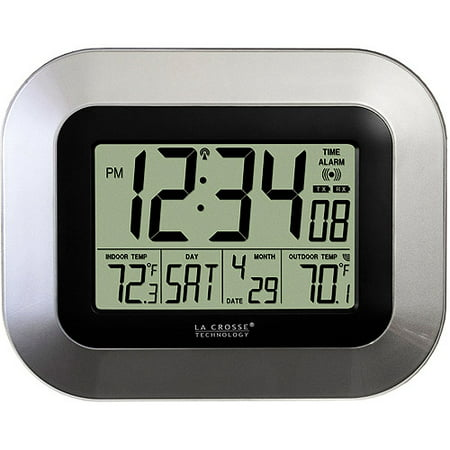 La Crosse Technology Silver Digital Atomic Clock with (Atomic Slim Projection Clock)