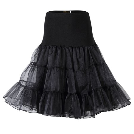 Black Plus Size Petticoat (Women 50s Petticoat Skirts Boneless Crystal Yarn Tutu Crinoline)