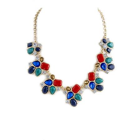 - Faceted Multi Color Faux Jewel Ornate Necklace Set, 18