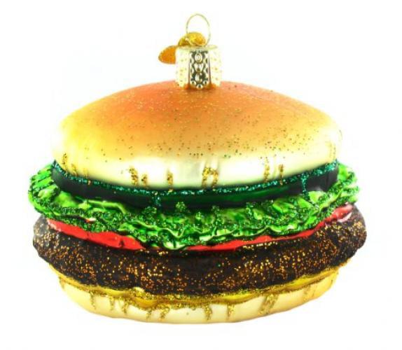 Old World Christmas Cheeseburger Glass Blown Ornament
