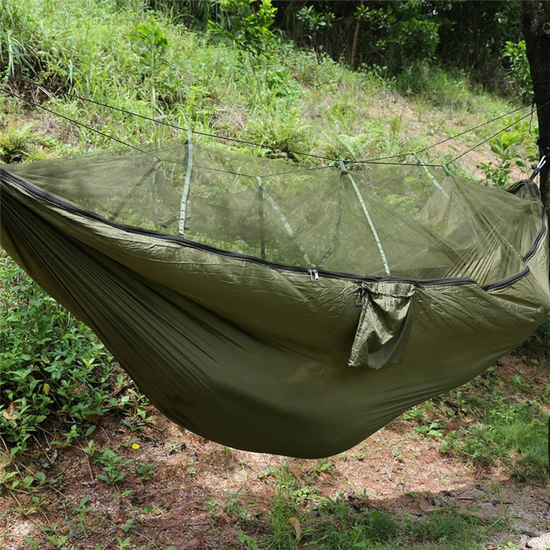 Qiilu Two Persons Camping Tent Camping Hammock With Mosquito Net Hanging  Sleep Hammock Bed Ultra Light