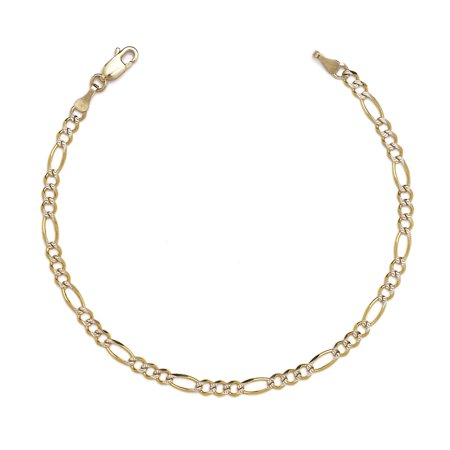 10k Figaro Anklet - 10k Two-Tone Gold Figaro Chian Bracelet and Anklet with White Pave, 0.1 Inch (2.5mm)