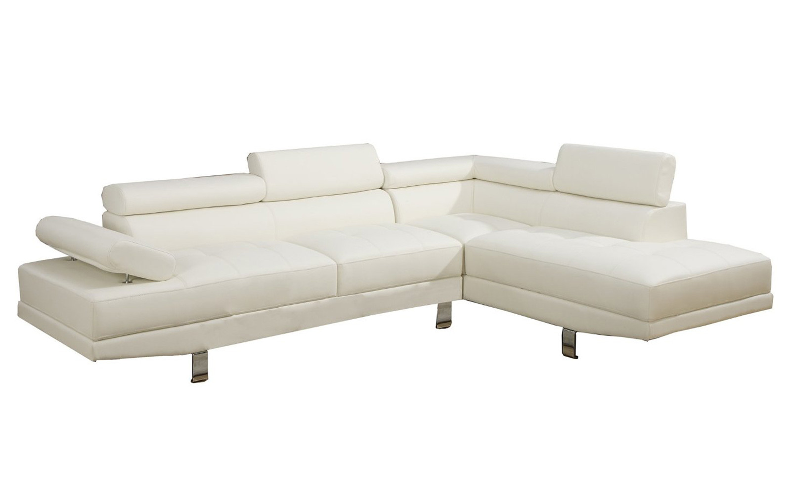 Modern Contemporary Faux Leather Mircrofiber Sectional Sofa White Walmart Com Walmart Com