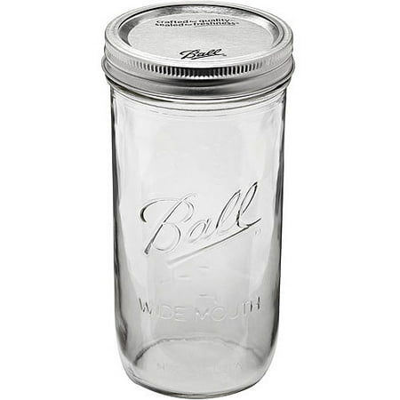 ball glass mason jar with lid and band wide mouth 24 ounces 9 count. Black Bedroom Furniture Sets. Home Design Ideas