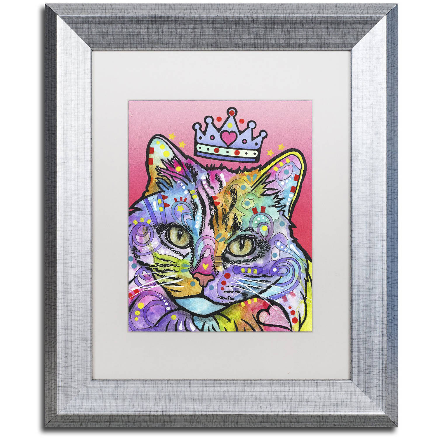 Trademark Fine Art 'Love Cat 5' Canvas Art by Dean Russo, White Matte, Silver Frame
