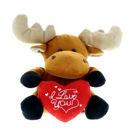 Super Soft Plush Dollibu Brown Moose I Love You Valentines Plush