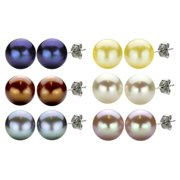 DaVonna Sterling Silver 11-12mm Freshwater Pearl Earrings with Gift Box Gold pearls