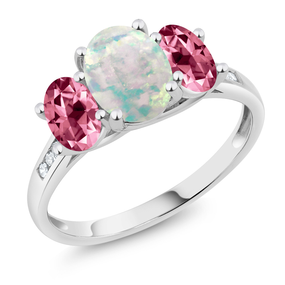 10K White Gold Diamond Ring White Opal Set with Pink Topaz from Swarovski by