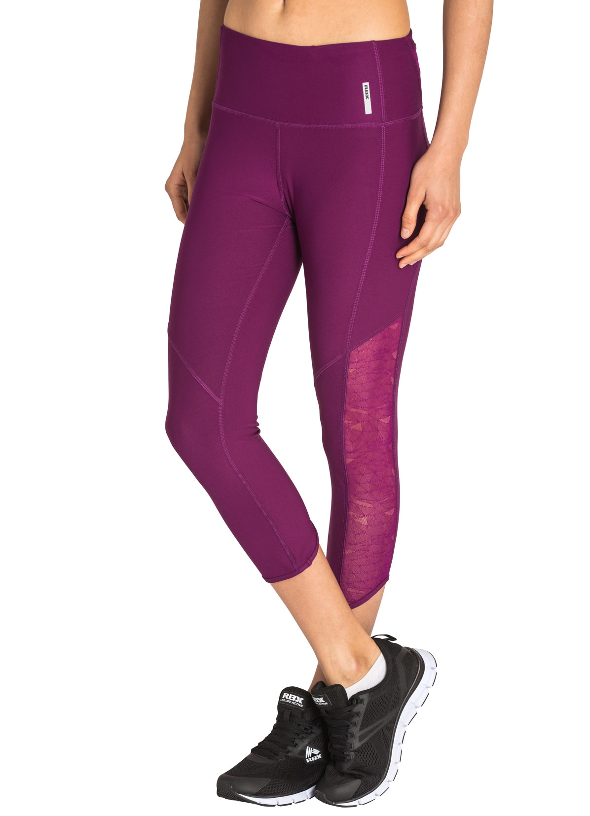 RBX Active Women's Coloblock Running Capri w/ Mesh